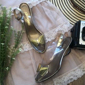 Vintage Bow Clear & Gold Kitten Wedge Heels 8